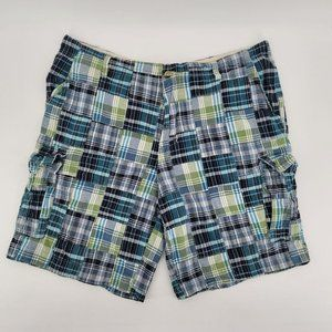 Plugg Plaid Patchwork Blue Green Cargo Shorts 44
